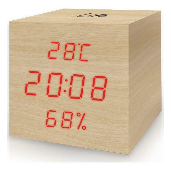 Ψηφιακό θερμόμετρο   υγρόμετρο ξύλινο LIFE WES-105 με ρολόι - ξυπνητήρι    ημερολόγιο 88259e2d2ee